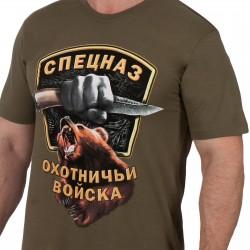 """Футболка  Классическая с принтом """"Охотничий спецназ"""" . Олива."""