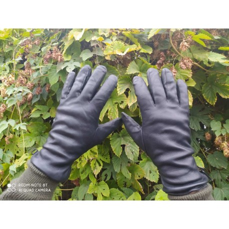 Перчатки кожаные утеплёные Англия, Чёрные, б/у.